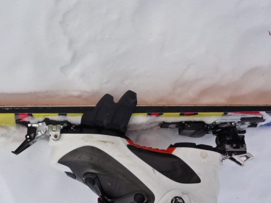 Ski crampons improve traction on frozen crusty slopes - the difference between skis on and skis off